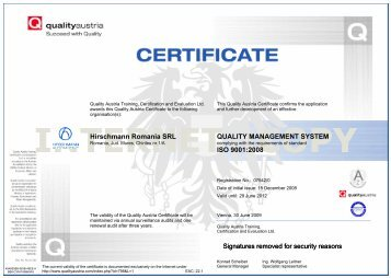 QUALITY MANAGEMENT SYSTEM ISO 9001:2008 Hirschmann ...