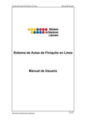 Sistema de Actas de Finiquito en Línea Manual de Usuario