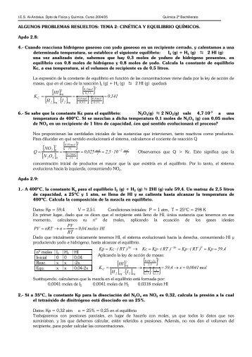 soluciones a los problemas del tema 2: cinética y ... - IES Al-Ándalus