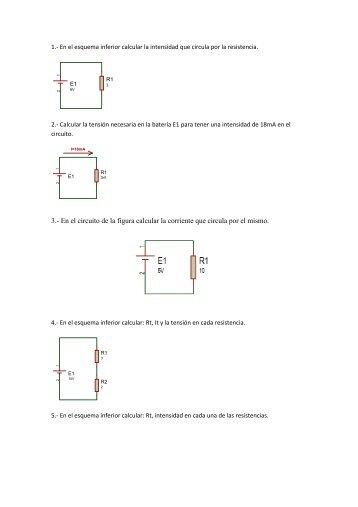 3.- En el circuito de la figura calcular la corriente que circula por el ...