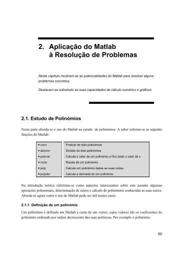 2. Aplicação do Matlab à Resolução de Problemas