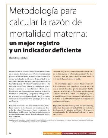 Metodología para calcular la razón de mortalidad materna: - Inegi