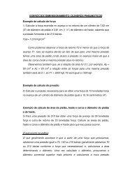 EXERCÍCIOS DIMENSIONAMENTO CILINDROS PNEUMÁTICOS ...
