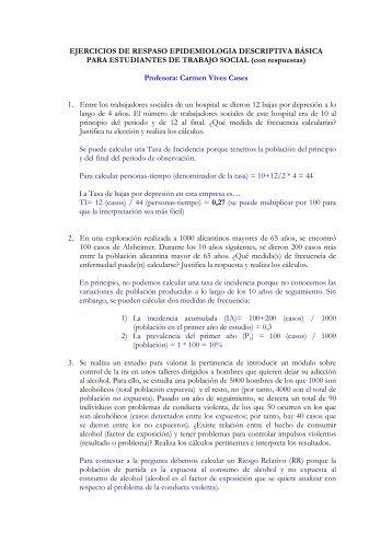 Ejercicios repaso epidemiologia en Trabajo social (respuestas). - RUA