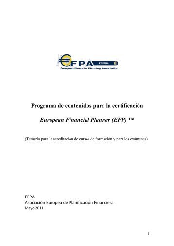 Programa de contenidos para la certificación European ... - EFPA