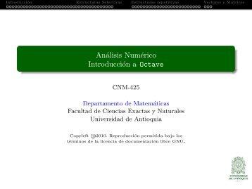 Análisis Numérico Introducción a Octave - Departamento de ...