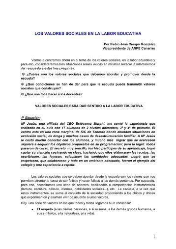LOS VALORES SOCIALES EN LA LABOR EDUCATIVA - ANPE