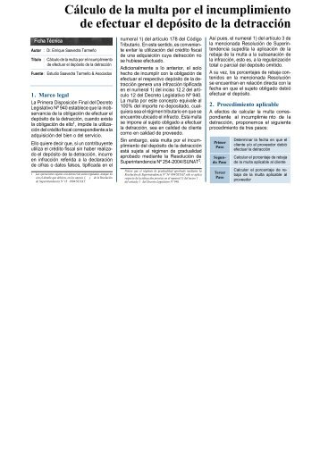 Cálculo de la multa por el incumplimiento de efectuar el depósito de ...