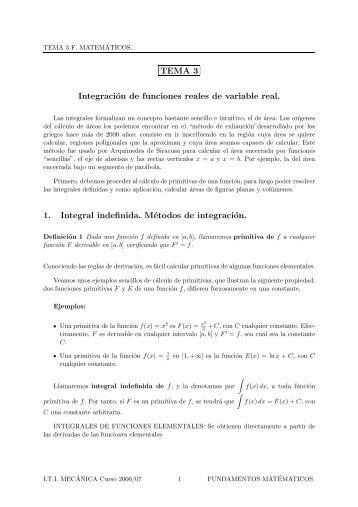 TEMA 3 Integración de funciones reales de variable real. 1. Integral ...