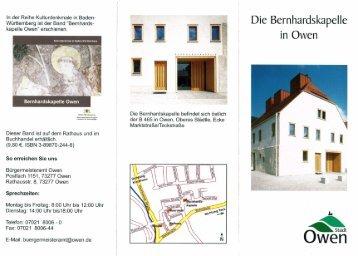 Die Bernhardskapelle in Owen - Alt-Owen Förderkreis ev