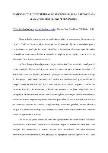 mapeamento litoestrutural da sinclinal da guia - Sociedade ...