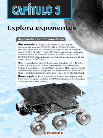 Capitulo tres: Explora exponentes