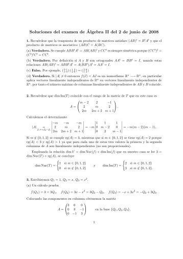 Soluciones del examen de Álgebra II del 2 de junio de 2008