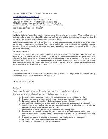 La Dieta Definitiva de Alberto Sedler – Distribución Libre ... - CX.com