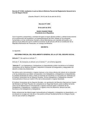 Decreto N° 8.922, mediante el cual se dicta la Reforma Parcial del ...