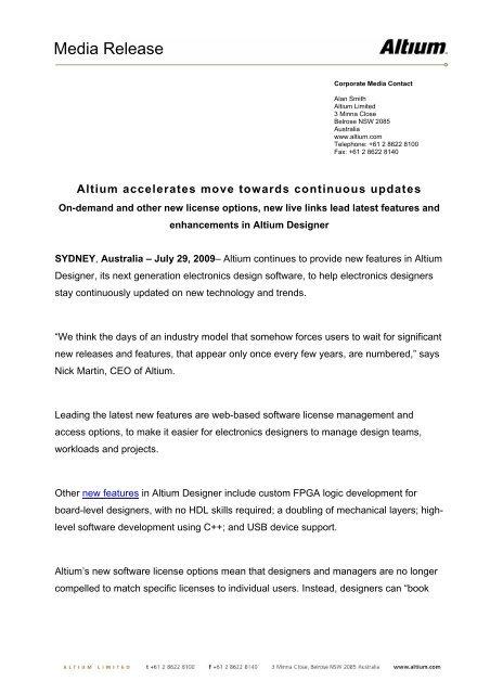 Read press release - Altium