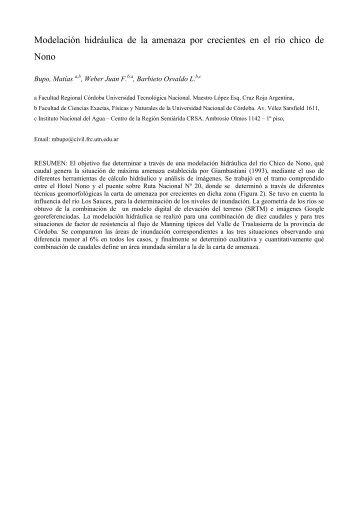 Modelación hidráulica de la amenaza por crecientes en el río chico