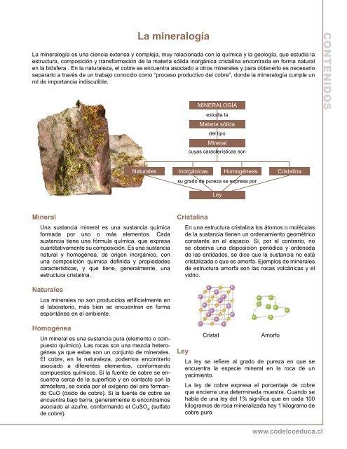 C O N T E N Id O S La Mineralogía Codelco Educa