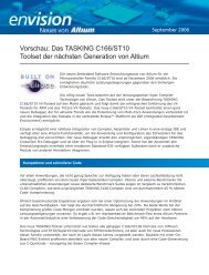 Vorschau: Das TASKING C166/ST10 Toolset der nächsten - Altium
