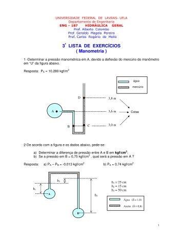 3ª LISTA DE EXERCÍCIOS ( Manometria ) - DEG - Departamento de ...