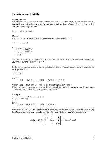 Polinômios no Matlab [ ] [] - DEMAR