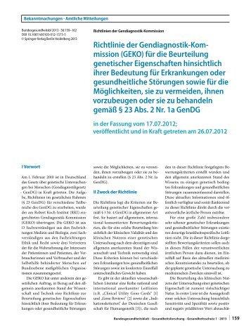 Richtlinie Medizinische Bedeutung genetischer Eigenschaften - RKI