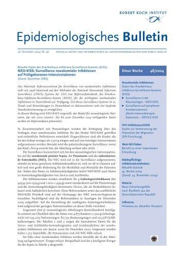 Nosokomiale Infektionen: Daten des Krankenhaus-Infektions ... - RKI