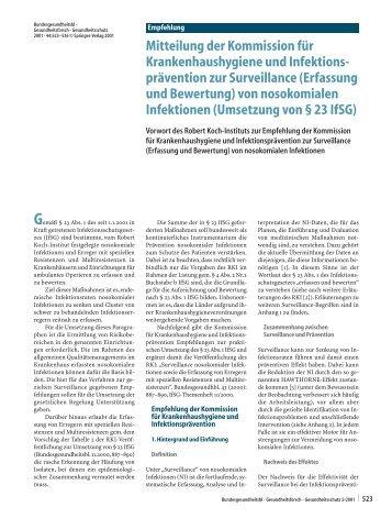 (erfassung und Bewertung) von nosokomialen Infektionen - RKI