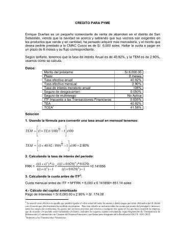 Fórmulas - CMAC Cusco