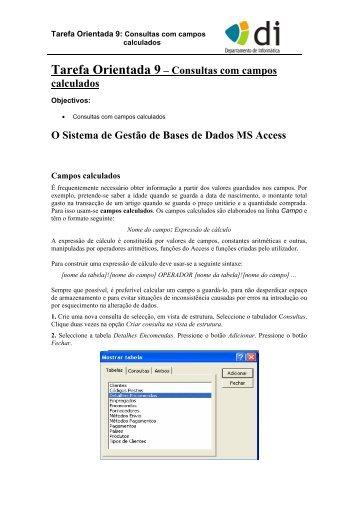Tarefa Orientada 9 – Consultas com campos calculados O Sistema ...