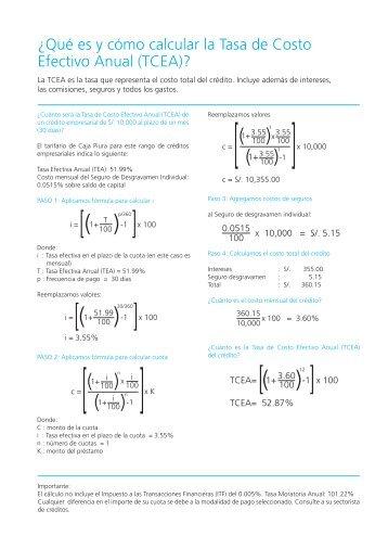Tasa de Costo Efectivo Anual (TCEA) - Caja Piura