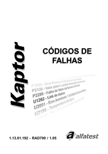KaptorKaptor CÓDIGOS DE FALHAS - Sandro Rogério Stoco