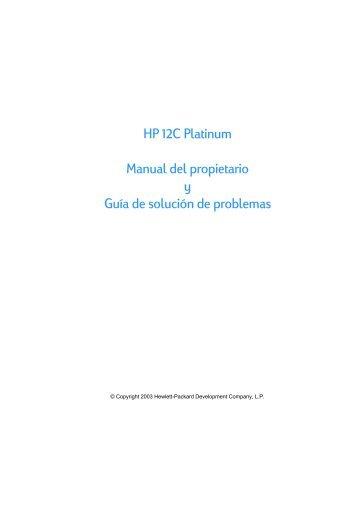 HP 12C Platinum Manual del propietario y Guía de solución de ...