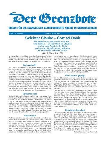 Gott sei Dank - Evangelisch-altreformierte Kirche in Niedersachsen