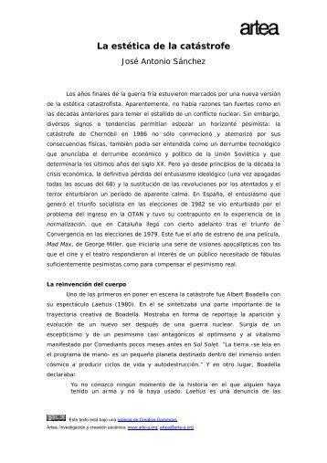 La estética de la catástrofe - Archivo Virtual de Artes Escénicas ...