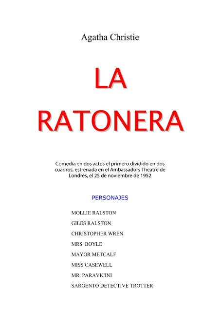 Agatha Christie La Ratonera Ieszocolengua
