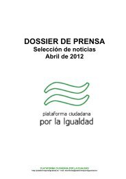 DOSSIER DE PRENSA - Plataforma por la Igualdad
