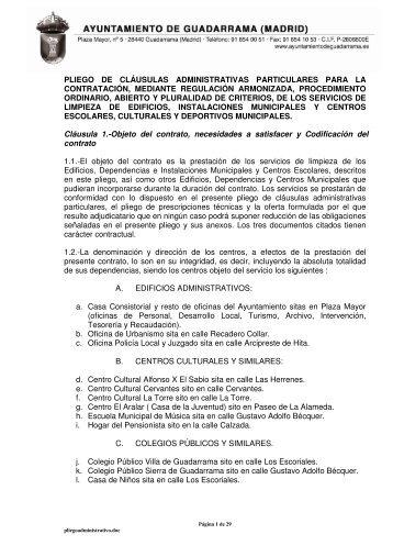 Pliego de cláusulas administrativas - Ayuntamiento de Guadarrama