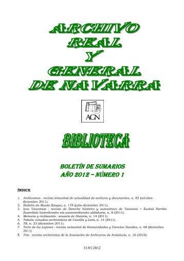 Boletín sumarios 2012-1 - BIBLIOTECA DEL ARCHIVO REAL Y ...