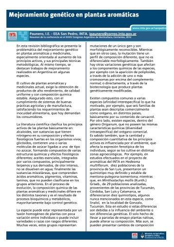 IPaunero_Mejoramiento genético en plantas aromáticas.pdf - INTA