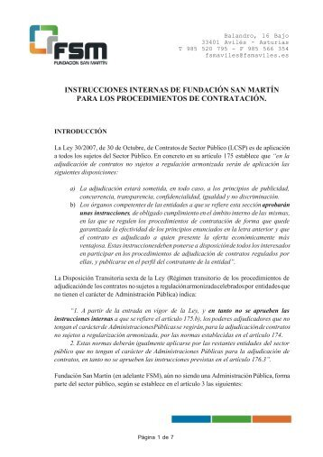 INSTRUCCIONES INTERNAS - Fundación San Martín