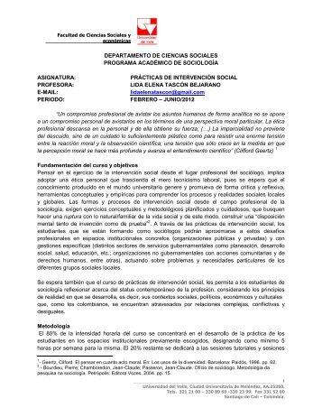 prácticas de intervención social - Universidad del Valle