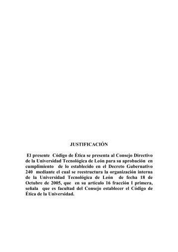 anteproyecto del codigo de etica de la universidad tecnologica de ...