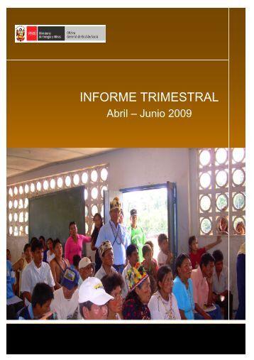 Informe Trimestral (abril - junio 2009) - Ministerio de Energía y Minas