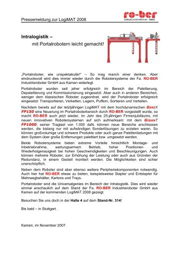 mit Portalrobotern leicht gemacht! - RO-BER Industrieroboter GmbH