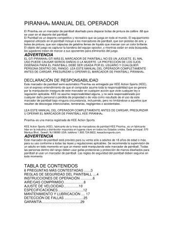 PIRANHA® MANUAL DEL OPERADOR - Paintball Solutions