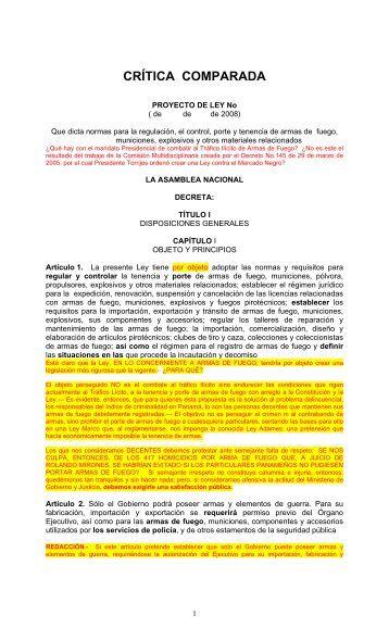 PROYECTO DE LEY No - Panama Shooters