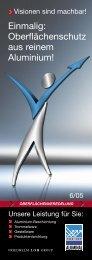 Einmalig: Oberflächenschutz aus reinem Aluminium! - Aluminal