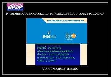 perú: población censada y de las comunidades nativas ... - APDP