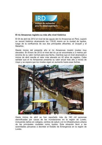 El río Amazonas registra su más alto nivel histórico El 04 de abril de ...